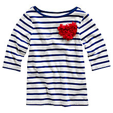 Buy Little Joule Girls' Cora Stripe Corsage Top, Blue/White Online at johnlewis.com