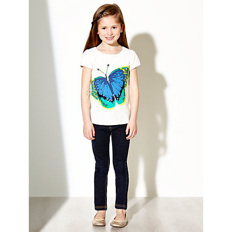 Buy John Lewis Girl Butterfly Print T-Shirt, White Online at johnlewis.com
