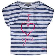 Buy Tommy Hilfiger Girls' Stripe Sequin Heart T-Shirt Online at johnlewis.com