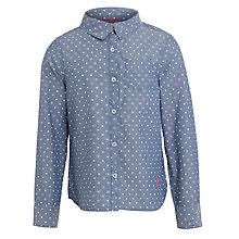 Buy Little Joule Girls' Dominee Chambray Long Sleeve Shirt, Blue Online at johnlewis.com