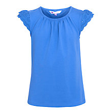 Buy John Lewis Girl Broderie Sleeve Top, Blue Online at johnlewis.com