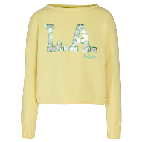 Buy Tommy Hilfiger Girls' LA Knitted Jumper, Yellow Online at johnlewis.com