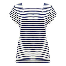 Buy John Lewis Square Neck Top, Ivory/Navy Online at johnlewis.com