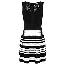 Buy Warehouse Printed Stripe Lace Dress, Black Online at johnlewis.com