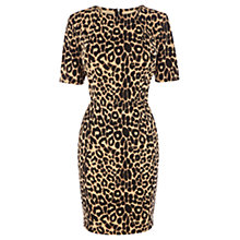 Buy Warehouse Animal Print Zip Back Dress, Brown Print Online at johnlewis.com