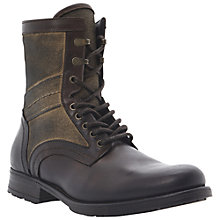 Buy Dune Cobblestone Canvas and Leather Boots, Brown/Khaki Online at johnlewis.com