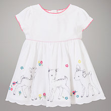 Buy John Lewis Baby Deer Print Dress, White Online at johnlewis.com