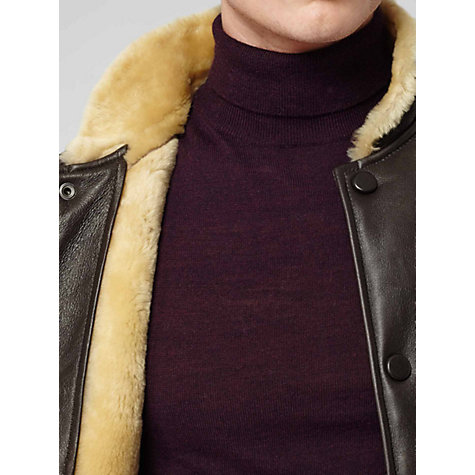 Buy Reiss Shearling Subway Bomber Jacket, Chocolate Online at johnlewis.com
