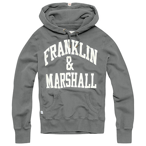 Buy Franklin & Marshall Arched Logo Hoodie, Grey Online at johnlewis.com