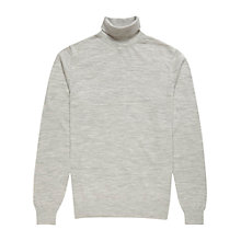 Buy Reiss Moon Merino Roll Neck Jumper, Soft Grey Online at johnlewis.com