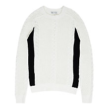 Buy Reiss Franco Cable Knit Jumper, Ecru/Black Online at johnlewis.com