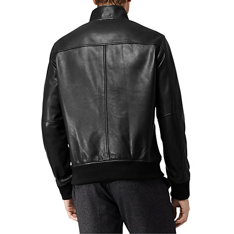 Buy Reiss Hove Leather Bomber Jacket, Black Online at johnlewis.com