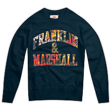Buy Franklin & Marshall Floral Logo Sweatshirt, Navy Online at johnlewis.com