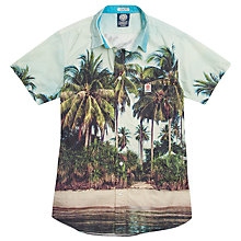 Buy Franklin & Marshall Palm Tree Shirt, Green/Blue Online at johnlewis.com