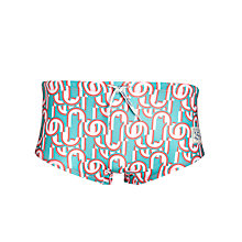 Buy Oiler & Boiler Printed Brief Swimming Trunks, Turquoise/Multi Online at johnlewis.com