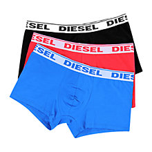 Buy Diesel Stretch Cotton Plain Trunks, Pack of 3, Blue/Red/Black Online at johnlewis.com