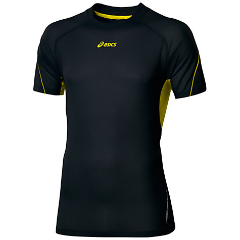 Buy Asics Pace Short Sleeve T-Shirt, Black/Yellow Online at johnlewis.com