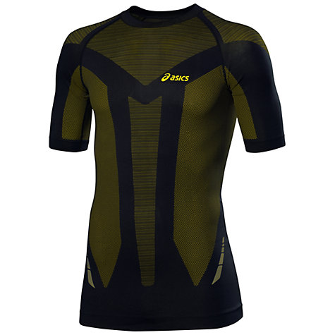 Buy Asics Seamless Short Sleeve T-Shirt, Black/Yellow Online at johnlewis.com