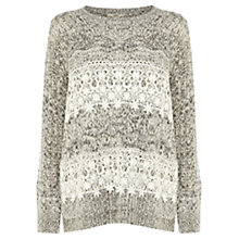 Buy Oasis Stripe Lace Jumper, Grey/White Online at johnlewis.com