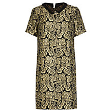 Buy Warehouse Embellished Jacquard Dress, Gold Colour Online at johnlewis.com