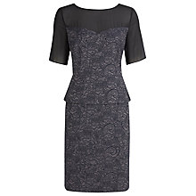 Buy Kaliko Lace Jacquard Peplum Dress, Black Online at johnlewis.com