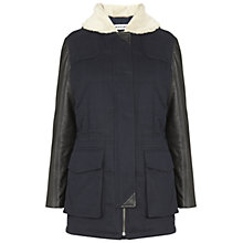 Buy Whistles Cooper Leather Sleeve Coat, Navy Online at johnlewis.com