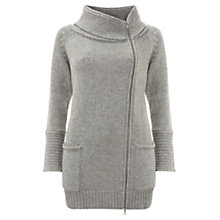 Buy Mint Velvet Zip Detail Coatigan, Silver Grey Online at johnlewis.com
