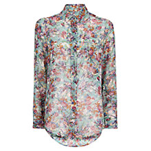 Buy Mango Floral Print Shirt, Medium Green Online at johnlewis.com