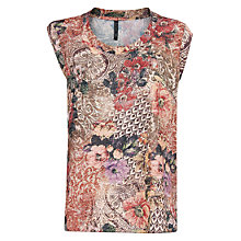 Buy Mango Tapestry Flowy T-Shirt, Red Online at johnlewis.com