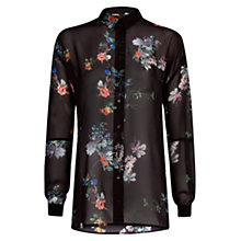 Buy Mango Floral Print Shirt, Dark Grey Online at johnlewis.com