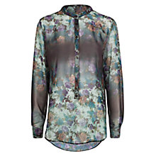 Buy Mango Floral Chiffon Shirt, Green Online at johnlewis.com