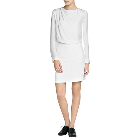 Buy Mango Draped Neck Dress, Natural White Online at johnlewis.com