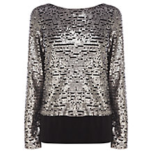 Buy Coast Justina Sequinned Top, Gunmetal Online at johnlewis.com