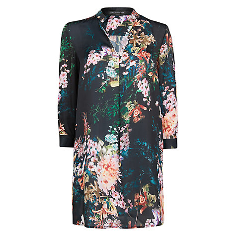 Buy Mango Floral Print Shirt Dress, Black Online at johnlewis.com