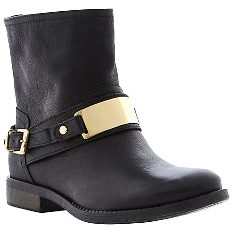 Buy Dune Plate Ankle Boots, Black Online at johnlewis.com