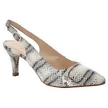Buy Unisa Magin Snake Print Slingback Court Shoes, Grey/White Online at johnlewis.com
