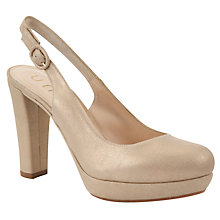 Buy Unisa Morei Suede Slingback Court Shoes, Gold Online at johnlewis.com