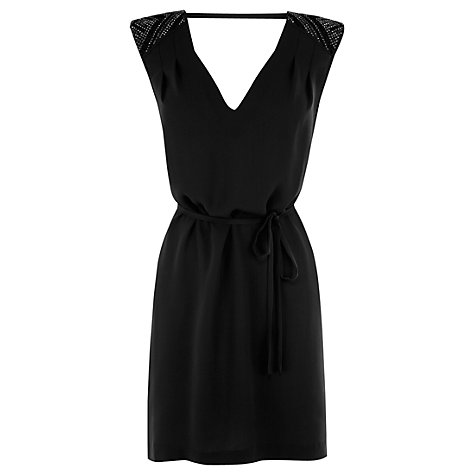 Buy Warehouse Hot Fix Shoulder Dress, Black Online at johnlewis.com