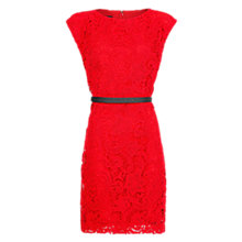 Buy Mango Guipere Belted Dress, Bright Red Online at johnlewis.com