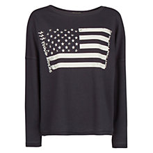 Buy Mango Studded Flag Sweatshirt, Black Online at johnlewis.com