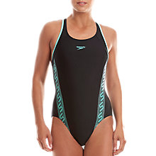 Buy Speedo Endurance 10 Racerback Swimsuit, Black/Green Online at johnlewis.com