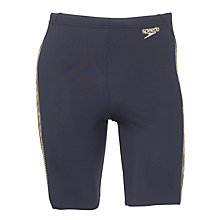 Buy Speedo Endurance+ Monogram Aquashort Swimshorts, Navy/Yellow Online at johnlewis.com