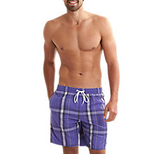 "Buy Speedo Yarn Dye Check 18"" Leisure Swim Shorts, Purple/White Online at johnlewis.com"
