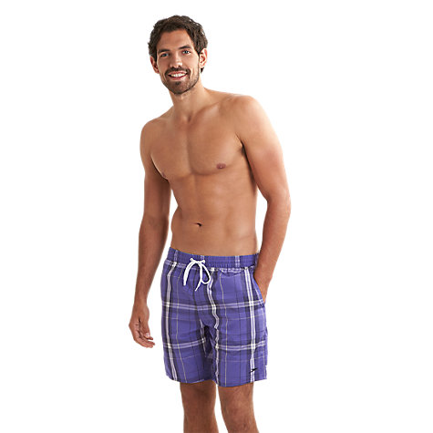 "Buy Speedo Yarn Dye Check 18"" Leisure Swimshorts, Purple/White Online at johnlewis.com"