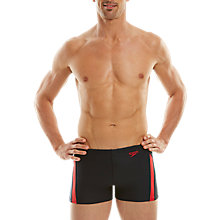 Buy Speedo Essential Aquashort Swimshorts, Navy/Red Online at johnlewis.com