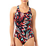 Buy Speedo Endurance Allover Print Powerback Swimsuit, Black/Red Online at johnlewis.com