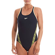 Buy Speedo Endurance 10 Muscleback Swimsuit, Navy/Yellow Online at johnlewis.com