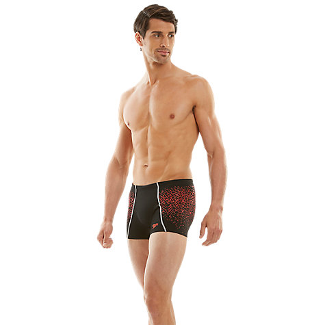 Buy Speedo Men's Endurance Speedofit Pinnacle Aquashort Swim Shorts, Black/Pink Online at johnlewis.com