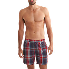 "Buy Speedo Yarn Dye Check 16"" Leisure Swim Shorts, Navy/Red Online at johnlewis.com"