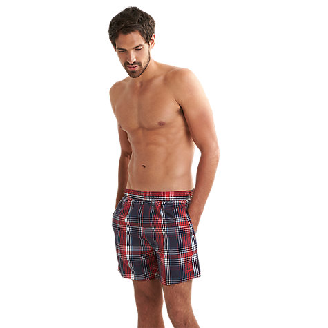 "Buy Speedo Yarn Dye Check 16"" Leisure Swimshorts, Navy/Red Online at johnlewis.com"